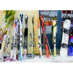 Skis by the window