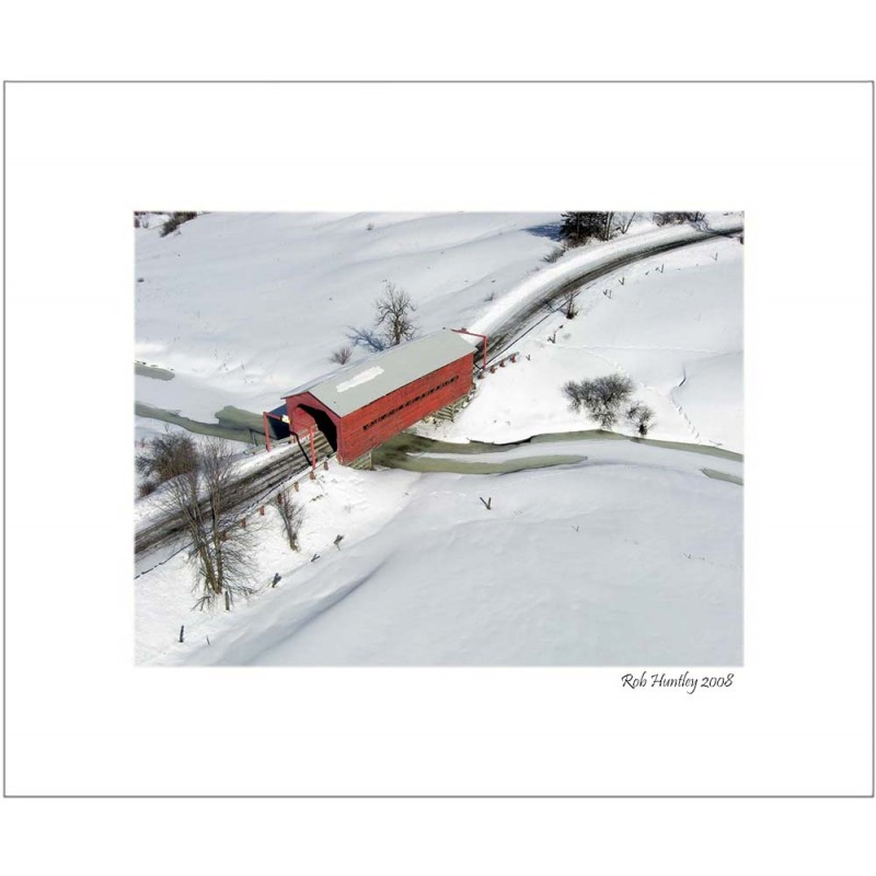 Red Covered Bridge - 8x10 Matted Print