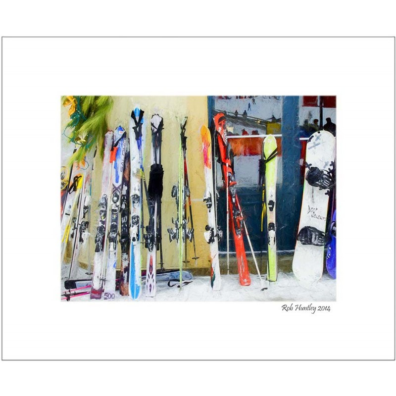 Skis by the window - 8x10 Matted Print.