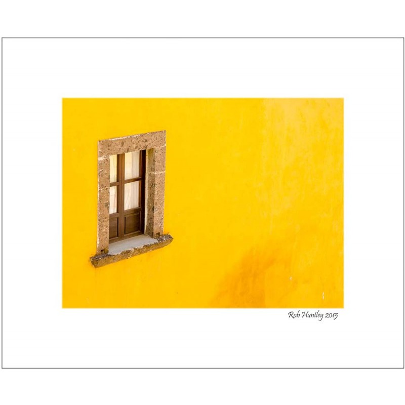 Window on a yellow wall - 8x10 Matted Print.